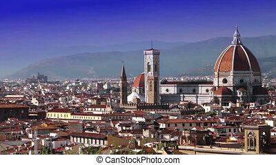 Italy. Florence. View of the city on top,