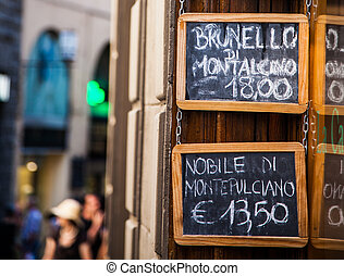 Wine shop - Italy, Florence. Wine shop selling local wines