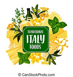 Italy foods icon with pasta from Italian cuisine - Italian...