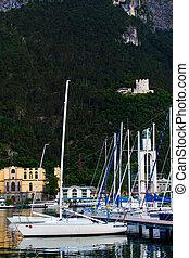 italy., garda, di, yacht, canc, garda, riva, marina, più grande, lago