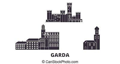 Italy, Garda flat travel skyline set. Italy, Garda black...
