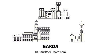 Italy, Garda line travel skyline set. Italy, Garda outline...