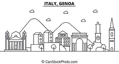 Italy, Genoa architecture line skyline illustration. Linear...
