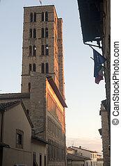 italy), glockenturm, mittelalterlich, (tuscany, arezzo