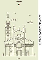 italy., grenzstein, modena, ikone, kathedrale