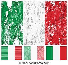 Italy grunge flag set on a white background. Vector...