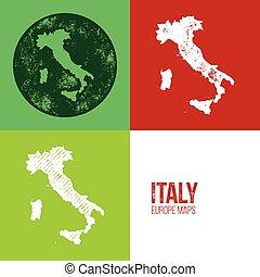 Italy Grunge Retro Map