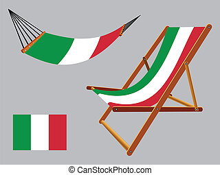 italy hammock and deck chair set against gray background,...