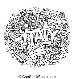 Italy hand lettering and doodles elements background. Vector...