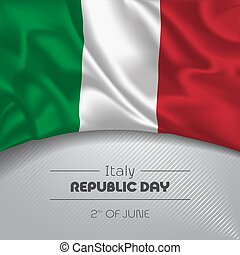 Italy happy republic day greeting card, banner vector illustration. Italian national holiday 2nd of June square design element with waving flag