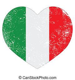 Italy heart retro flag
