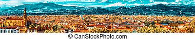 .italy., histórico, punto, hermoso, vista, paisaje, panorama...
