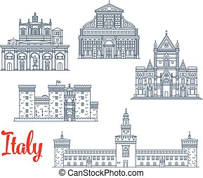 Italian historic architecture symbols and famous sightseeing buildings. Vector isolate icons and facades of Santa Maria Novello church, Castel Nuovo and Sforza castle, San Lorenzo basilica and Napoli Cathedral