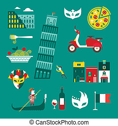 Italy icons - Vector set of stylized italy icons