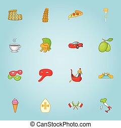 Italy icons set, cartoon style