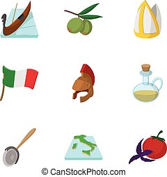 Italy icons set, cartoon style