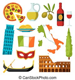 Italy icons set. Italian symbols and objects