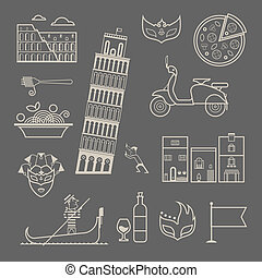 Vector set of stylized italy icons