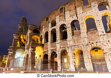 Italy Illuminated Colosseum at night