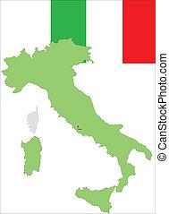 Italy, Italian flag and map, vector