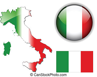 Italy, Italian flag, map and glossy button, vector ...