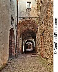 italy:, keresztül, utca, castellina, toszkána, chianti, ősi, delle, siena, volte