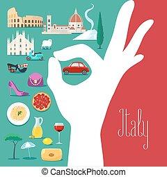 italy läßt, abbildung, zeichen, farben, vektor, ausgezeichnet, italienesche