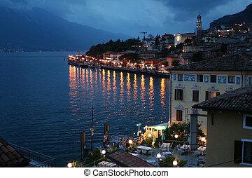 Italy. Lake Garda. Limone sul Garda town. Evening