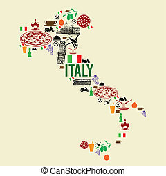 Italy landmark map silhouette icon on retro background,...
