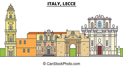 Italy, Lecce. City skyline, architecture, buildings, streets, silhouette, landscape, panorama, landmarks. Editable strokes. Flat design line vector illustration concept. Isolated icons