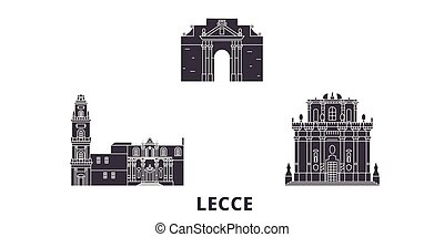 Italy, Lecce flat travel skyline set. Italy, Lecce black...