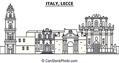 Italy, Lecce line skyline vector illustration. Italy, Lecce...