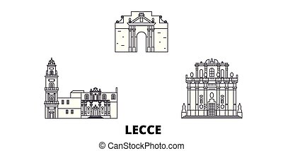 Italy, Lecce line travel skyline set. Italy, Lecce outline...