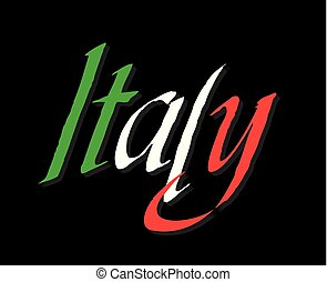 Italy lettering colors in flag colors.
