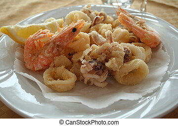 Italy. Liguria. Sea food - Italy. Liguria. Plate of sea food...