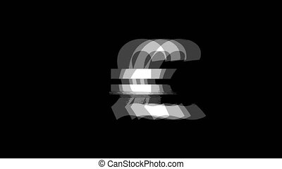 Italy Lira Currency icon Vintage Twitched Bad Signal Animation.