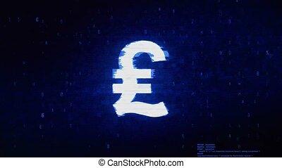 Italy Lira Currency Symbol Digital Pixel Noise Error Animation.