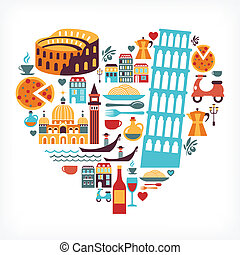 Italy love - heart shape with vector icons - Italy love - ...