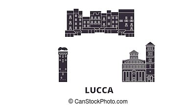 Italy, Lucca flat travel skyline set. Italy, Lucca black...