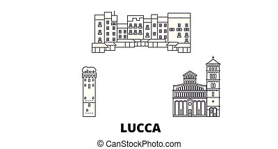 Italy, Lucca line travel skyline set. Italy, Lucca outline...