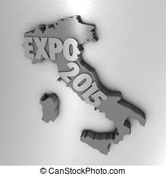 Italy map and Expo text
