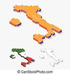 Italy map element with 3D isometric shape isolated on background, vector illustration