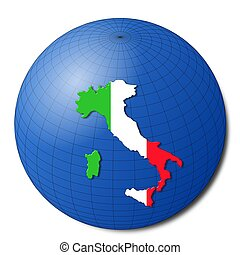 Italy map flag on abstract globe illustration