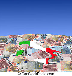 Italy map flag on euros