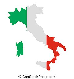Italy map icon, flat style