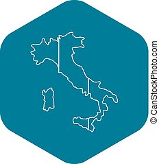Italy map icon, outline style