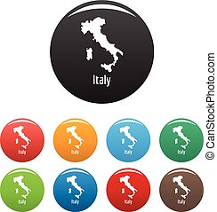 Italy map in black set vector simple