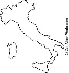Italy map of black contour curves of vector illustration