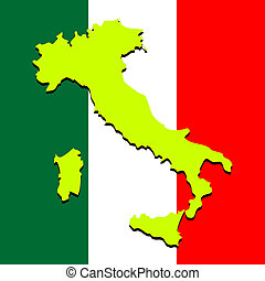 italy map over national colors, abstract art illustration