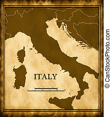 Italy map on the old background
